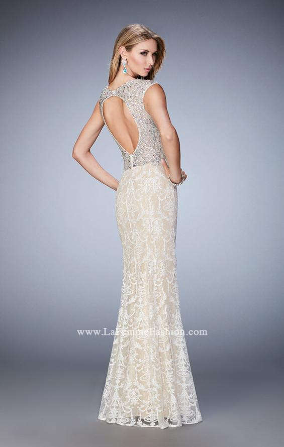 Picture of: Embellished Lace Prom Dress with Crystal Beading in White, Style: 22934, Back Picture