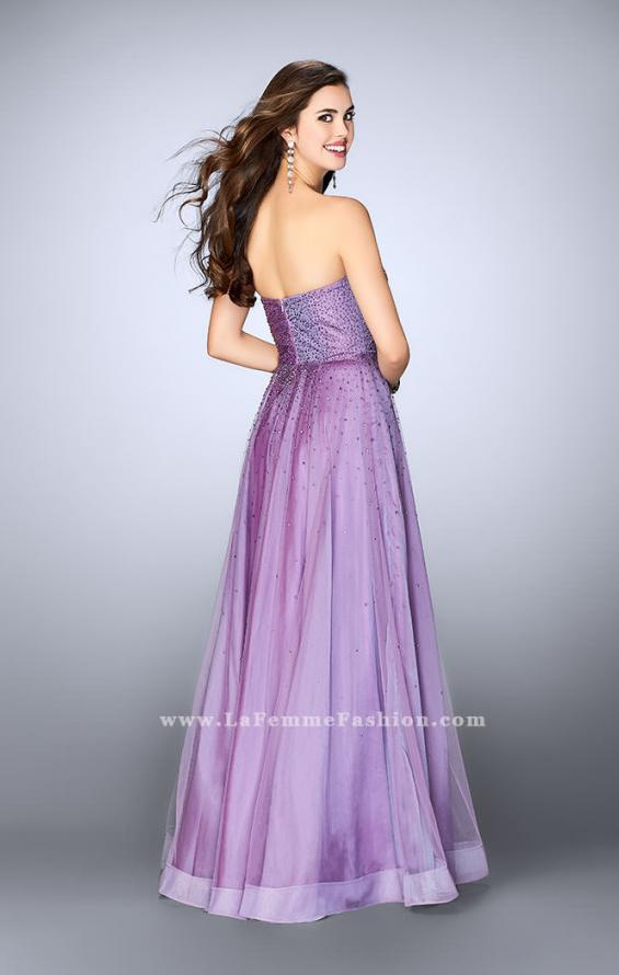 Picture of: Strapless A-line Dress with Rhinestones Tulle Skirt in Purple, Style: 22952, Back Picture