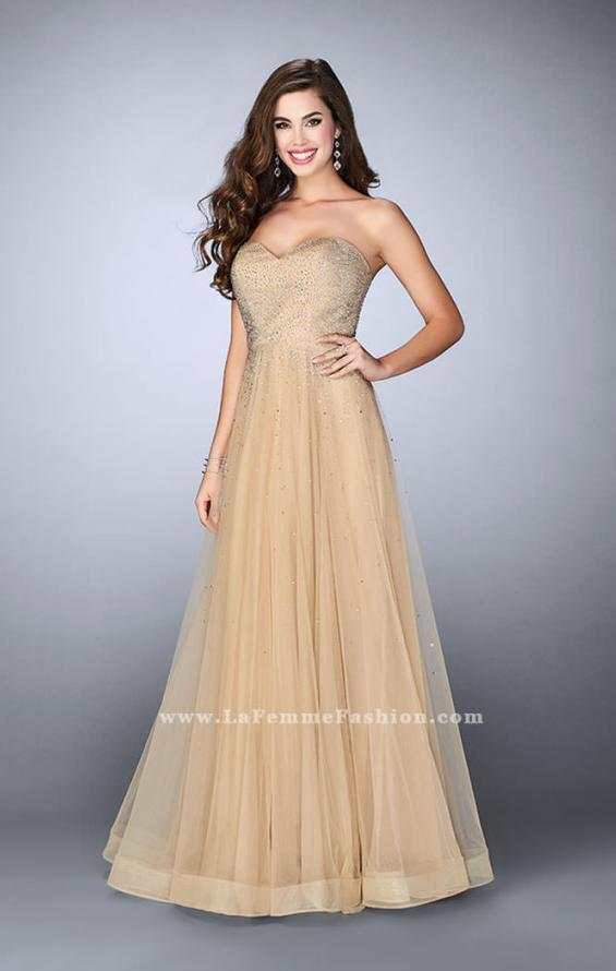 Picture of: Strapless A-line Dress with Rhinestones Tulle Skirt in Nude, Style: 22952, Detail Picture 1
