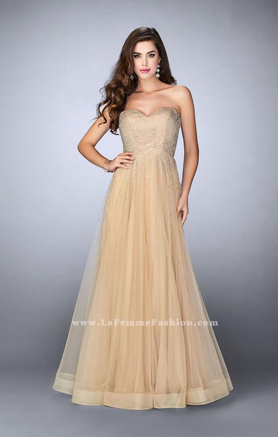 Picture of: Strapless A-line Dress with Rhinestones Tulle Skirt in Nude, Style: 22952, Detail Picture 2