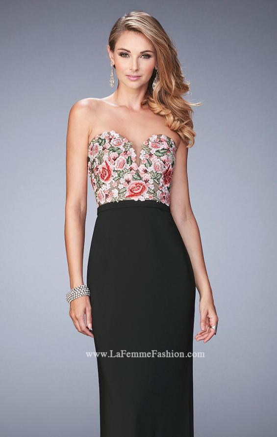 Picture of: Long Jersey Open Back Dress with Floral Lace Applique in Black, Style: 22959, Main Picture