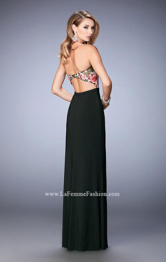 Picture of: Long Jersey Open Back Dress with Floral Lace Applique in Black, Style: 22959, Back Picture