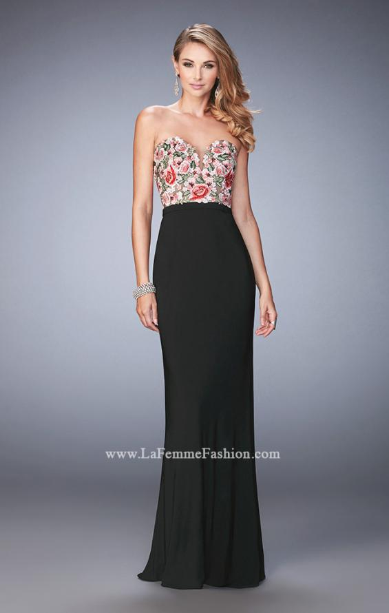 Picture of: Long Jersey Open Back Dress with Floral Lace Applique in Black, Style: 22959, Detail Picture 1