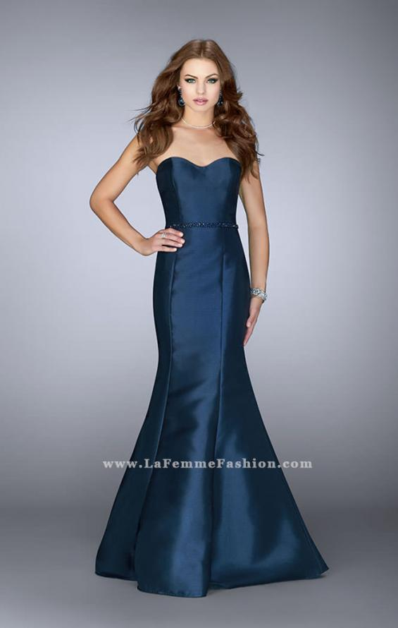 Picture of: Strapless Mermaid Prom Dress with Beaded Belt in Blue, Style: 22963, Main Picture