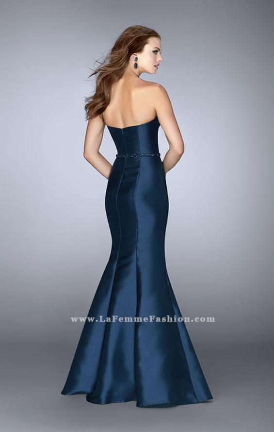 Picture of: Strapless Mermaid Prom Dress with Beaded Belt in Blue, Style: 22963, Back Picture