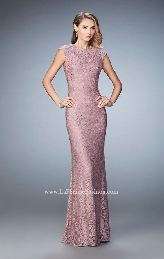 Picture of: Embellished Lace Evening Gown with Cap Sleeves, Style: 22971, Detail Picture 1