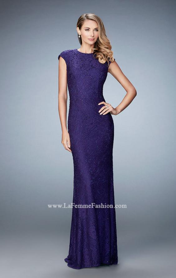 Picture of: Embellished Lace Evening Gown with Cap Sleeves, Style: 22971, Detail Picture 2