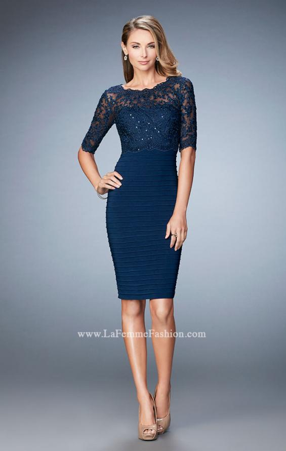 Picture of: Knee Length Dress with Bandage Skirt and Lace in Blue, Style: 22973, Main Picture