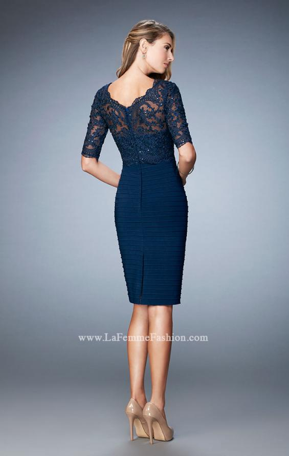 Picture of: Knee Length Dress with Bandage Skirt and Lace in Blue, Style: 22973, Back Picture