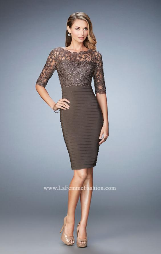 Picture of: Knee Length Dress with Bandage Skirt and Lace in Brown, Style: 22973, Detail Picture 1