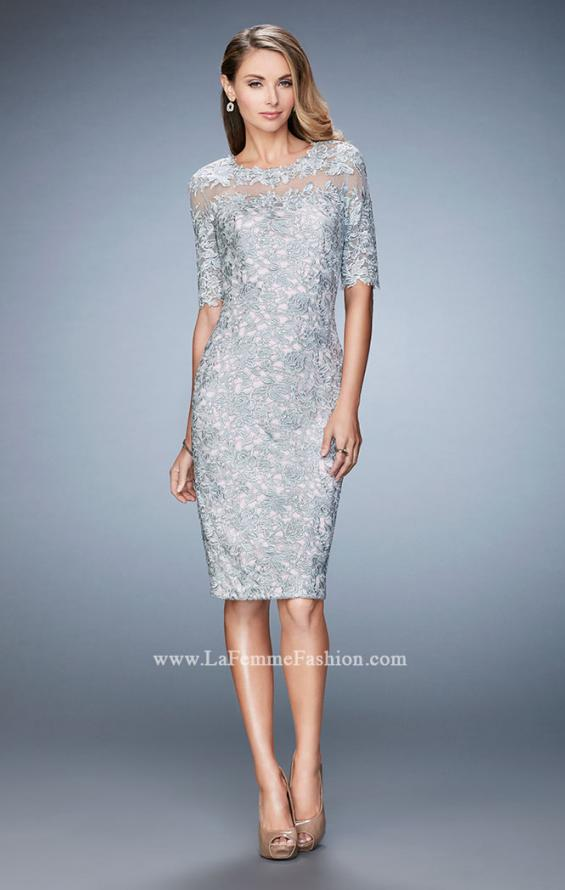 Picture of: Knee Length Lace Cocktail Dress with 3/4 Sleeves, Style: 22989, Main Picture