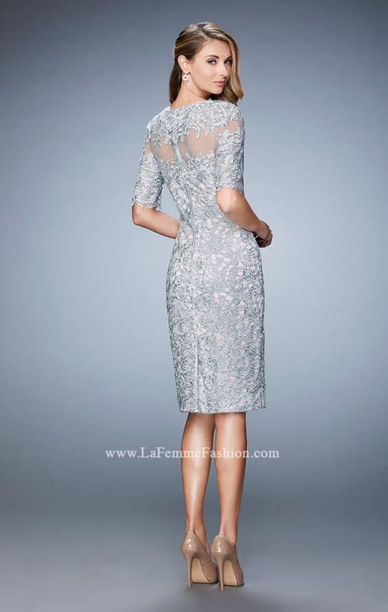 Picture of: Knee Length Lace Cocktail Dress with 3/4 Sleeves, Style: 22989, Back Picture