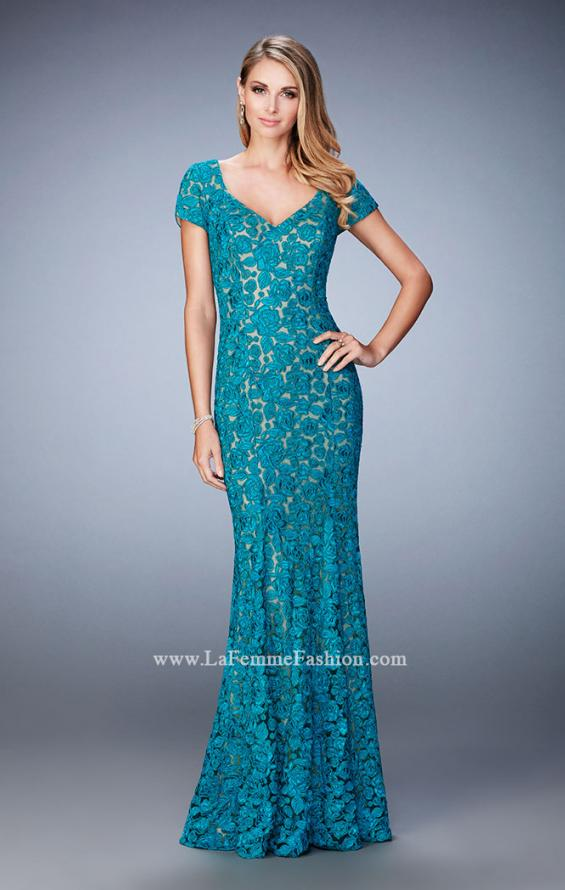 Picture of: Long Lace Evening Gown with Short Sleeves in Blue, Style: 22998, Main Picture