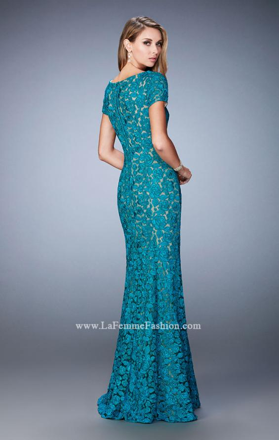 Picture of: Long Lace Evening Gown with Short Sleeves in Blue, Style: 22998, Back Picture