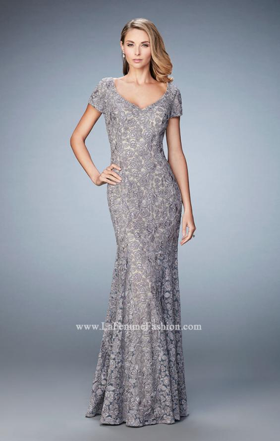 Picture of: Long Lace Evening Gown with Short Sleeves in Silver, Style: 22998, Detail Picture 1