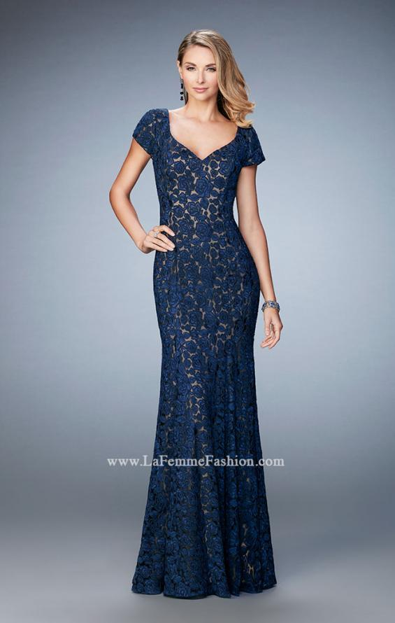 Picture of: Long Lace Evening Gown with Short Sleeves in Blue, Style: 22998, Detail Picture 2
