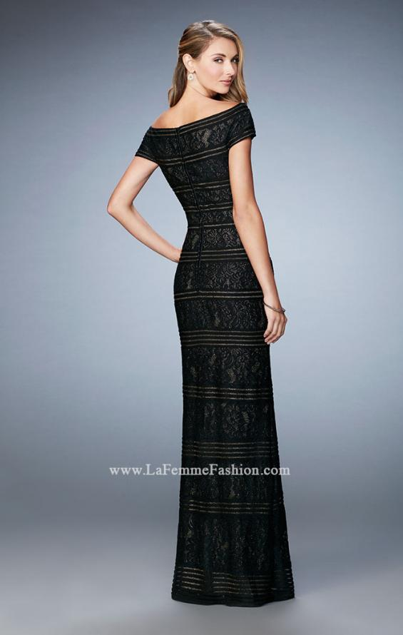 Picture of: Gold Lined Cap Sleeve Lace Evening Dress, Style: 23012, Back Picture