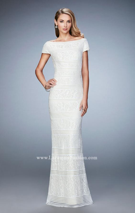 Picture of: Gold Lined Cap Sleeve Lace Evening Dress, Style: 23012, Detail Picture 1