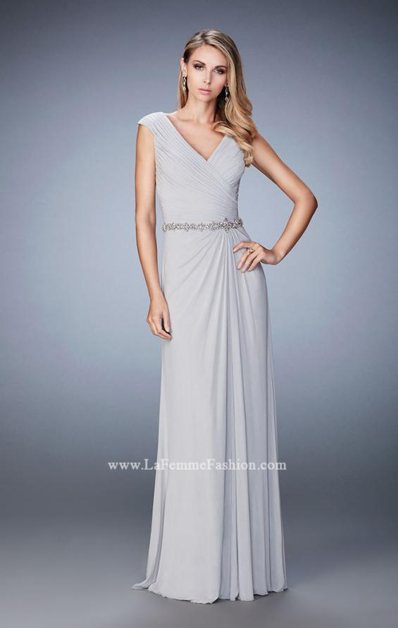 Picture of: Evening Gown with Cap Sleeves and Jeweled Belt in Silver, Style: 23024, Main Picture