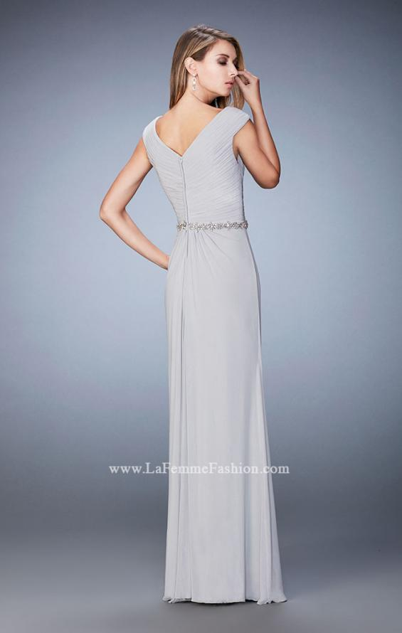 Picture of: Evening Gown with Cap Sleeves and Jeweled Belt in Silver, Style: 23024, Back Picture