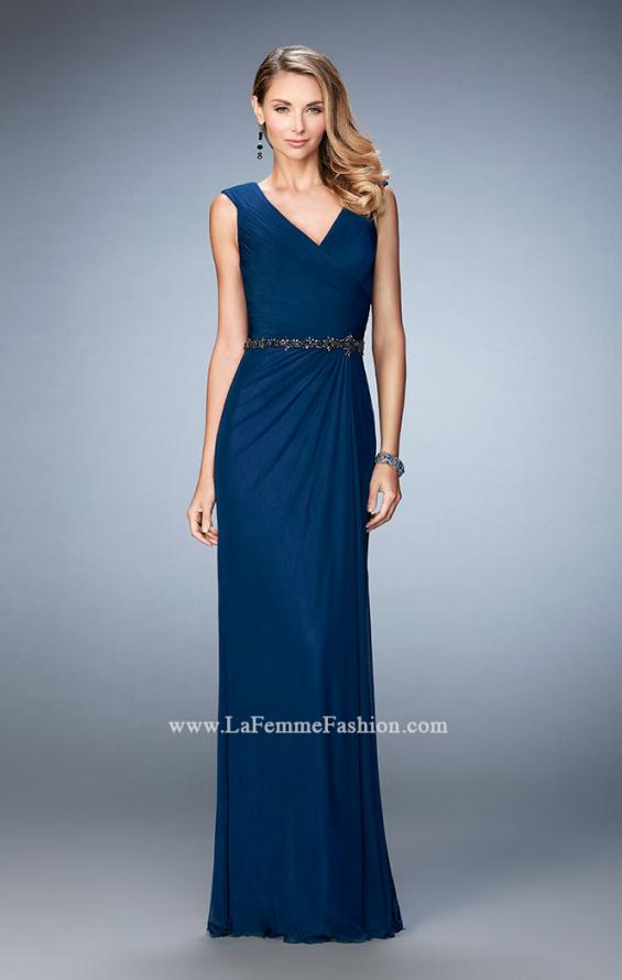 Picture of: Evening Gown with Cap Sleeves and Jeweled Belt in Blue, Style: 23024, Detail Picture 1