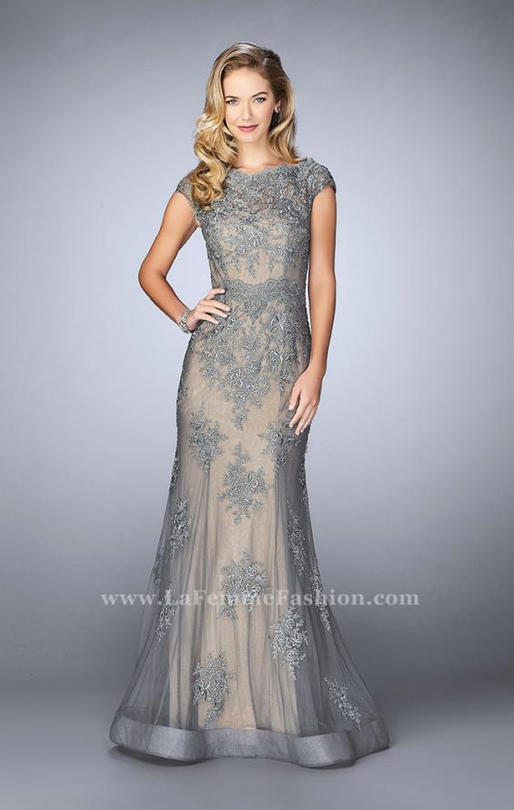 Picture of: Lace Mermaid Prom Dress with Scalloped Neckline in Silver, Style: 23059, Main Picture