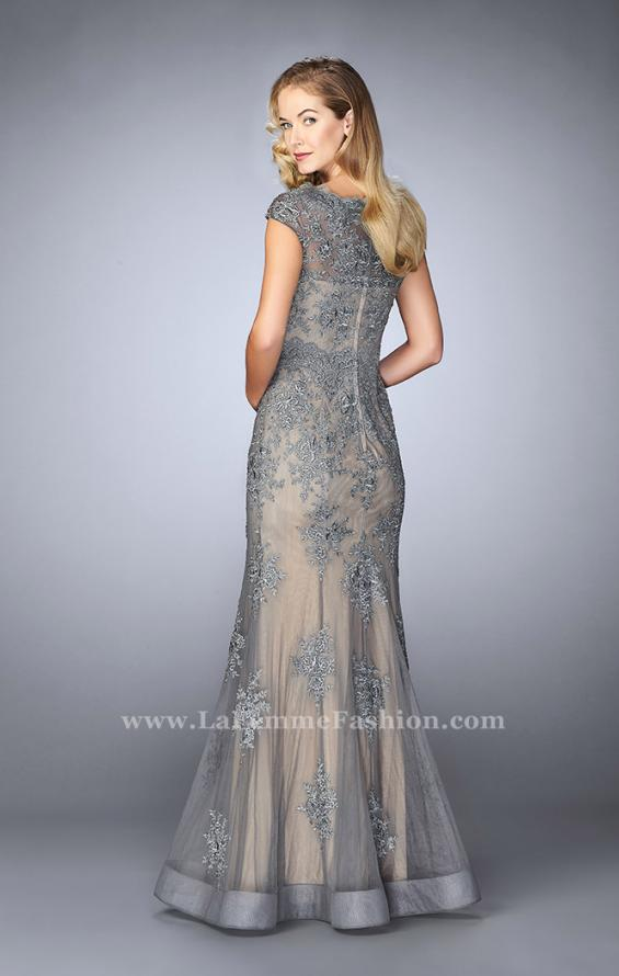 Picture of: Lace Mermaid Prom Dress with Scalloped Neckline in Silver, Style: 23059, Back Picture