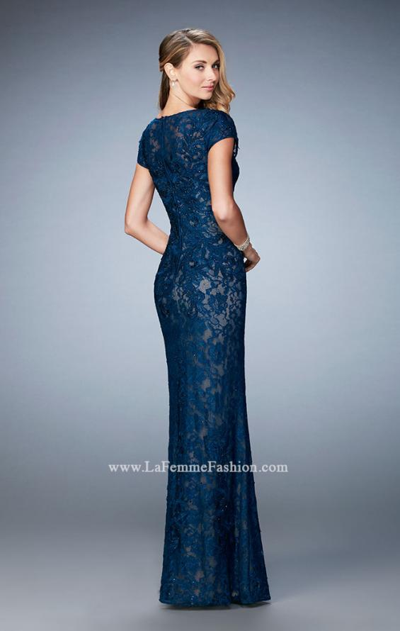 Picture of: Lace and Jewel Embroidered Gown with Short Sleeves, Style: 23071, Back Picture