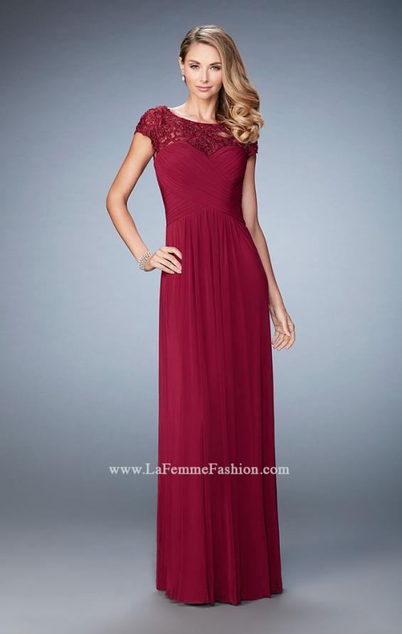 Picture of: Embroidered Lace Evening Gown with Pleated Bodice, Style: 23077, Main Picture