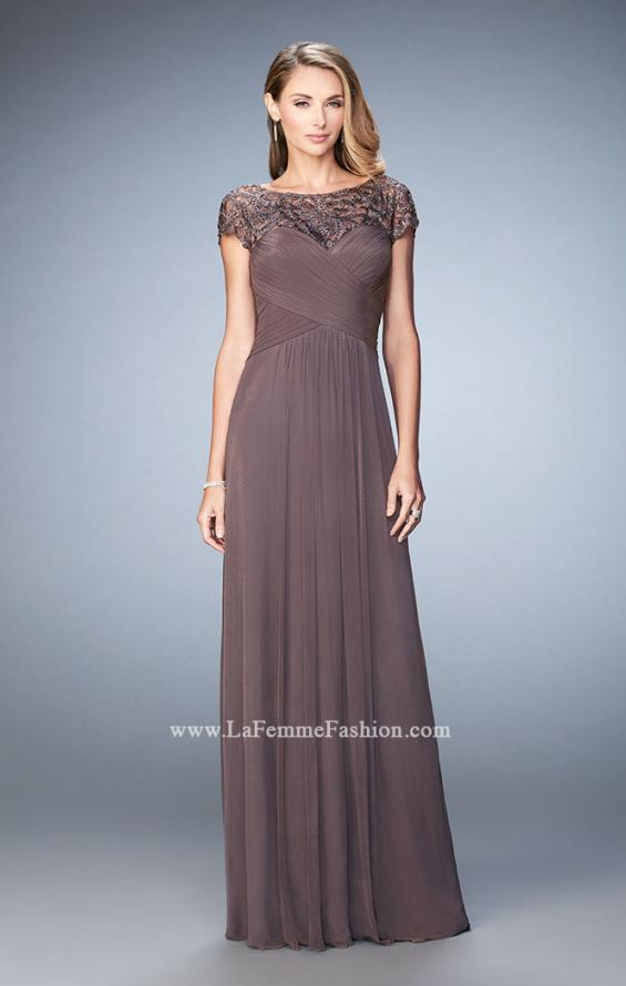 Picture of: Embroidered Lace Evening Gown with Pleated Bodice, Style: 23077, Detail Picture 1