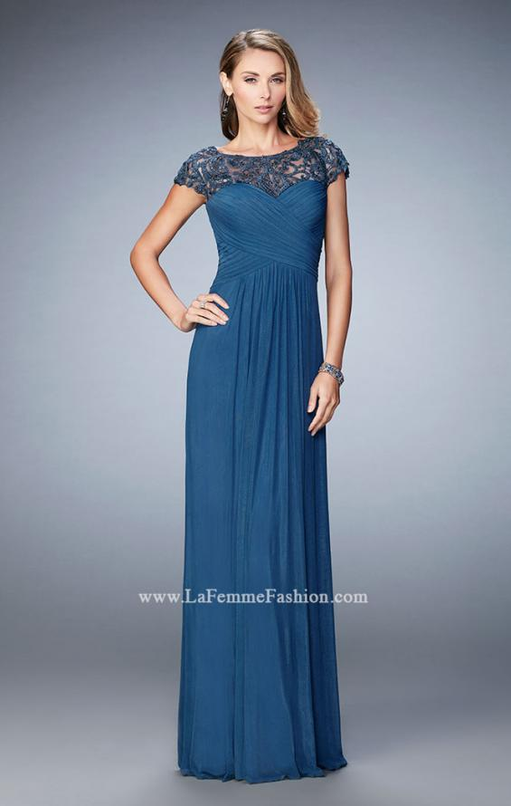 Picture of: Embroidered Lace Evening Gown with Pleated Bodice, Style: 23077, Detail Picture 2
