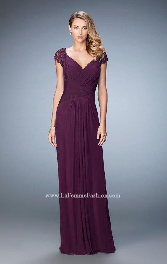 Picture of: Lace Cap Sleeve Dress with Open Back in Purple, Style: 23084, Main Picture