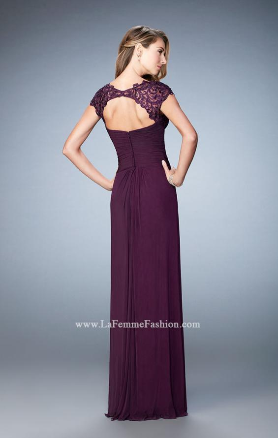 Picture of: Lace Cap Sleeve Dress with Open Back in Purple, Style: 23084, Back Picture