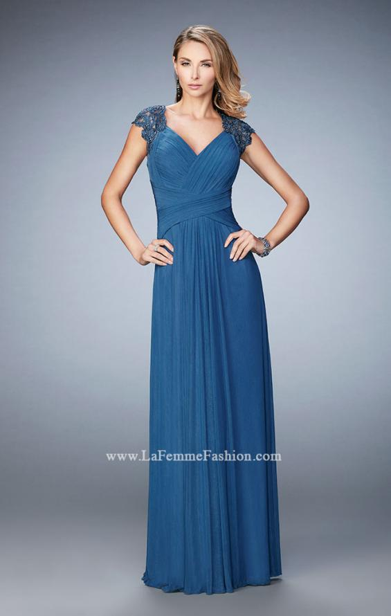 Picture of: Lace Cap Sleeve Dress with Open Back, Style: 23084, Detail Picture 1