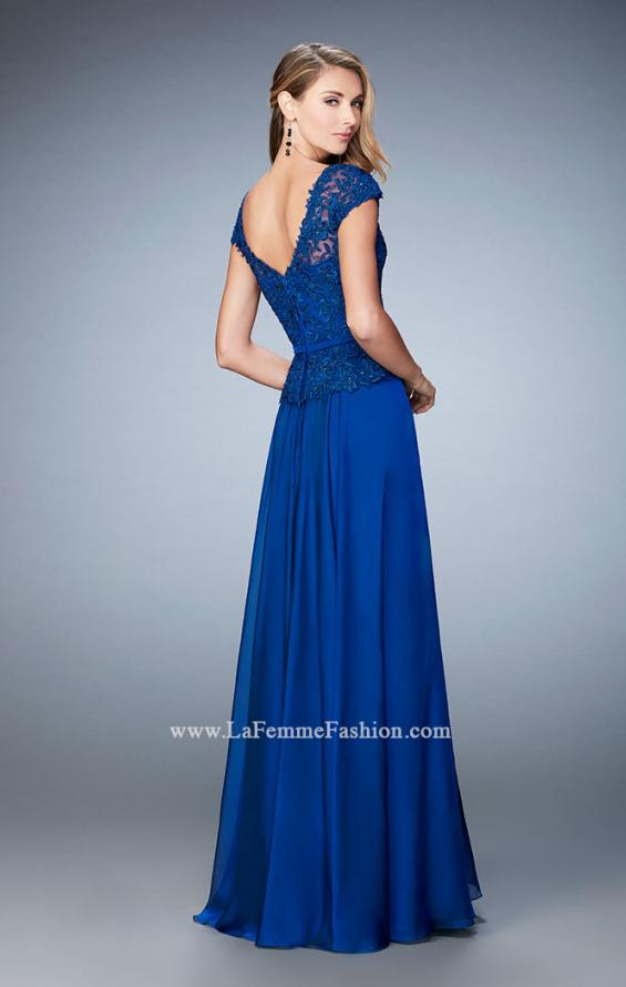 Picture of: Chiffon Evening Dress with Fitted Belt in Blue, Style: 23085, Back Picture