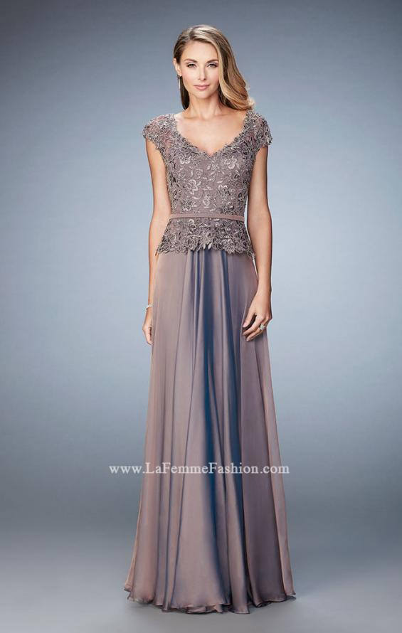 Picture of: Chiffon Evening Dress with Fitted Belt in Brown, Style: 23085, Detail Picture 1
