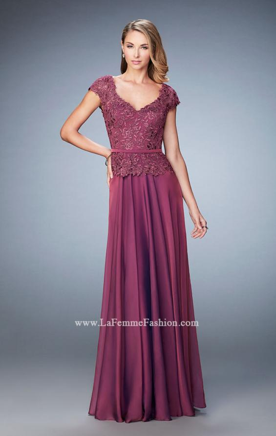Picture of: Chiffon Evening Dress with Fitted Belt in Pink, Style: 23085, Detail Picture 2
