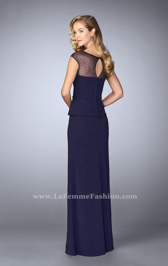 Picture of: Beaded Cap Sleeve Peplum Dress with Sheer Detail in Blue, Style: 23112, Back Picture