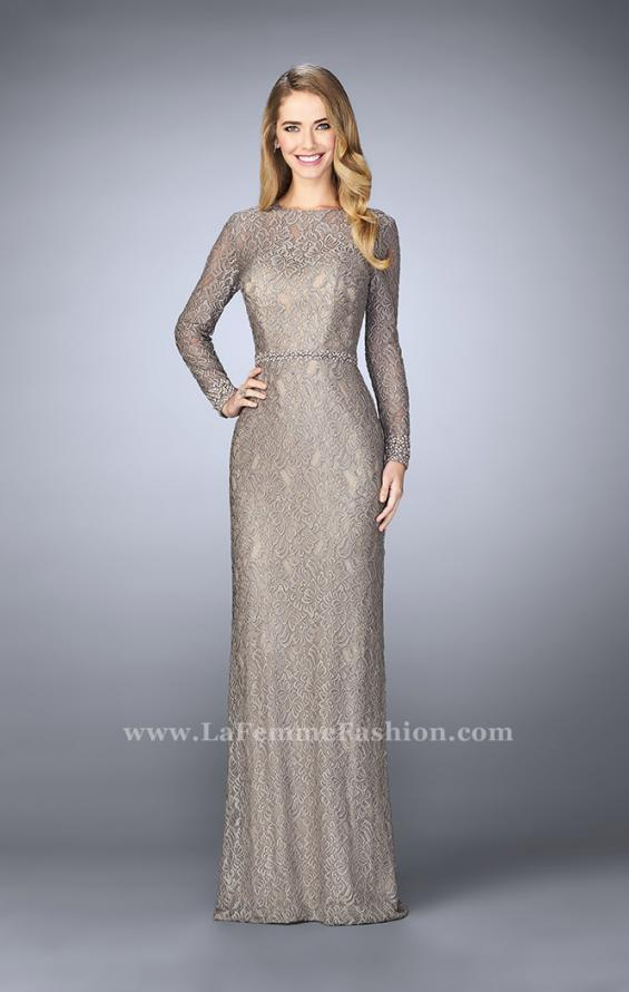 Picture of: Long Sleeve Lace Dress with Beaded Belt and Cuffs in Silver, Style: 23115, Main Picture