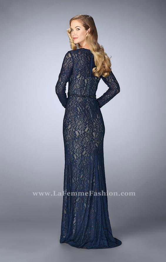 Picture of: Long Sleeve Lace Dress with Beaded Belt and Cuffs in Blue, Style: 23115, Back Picture