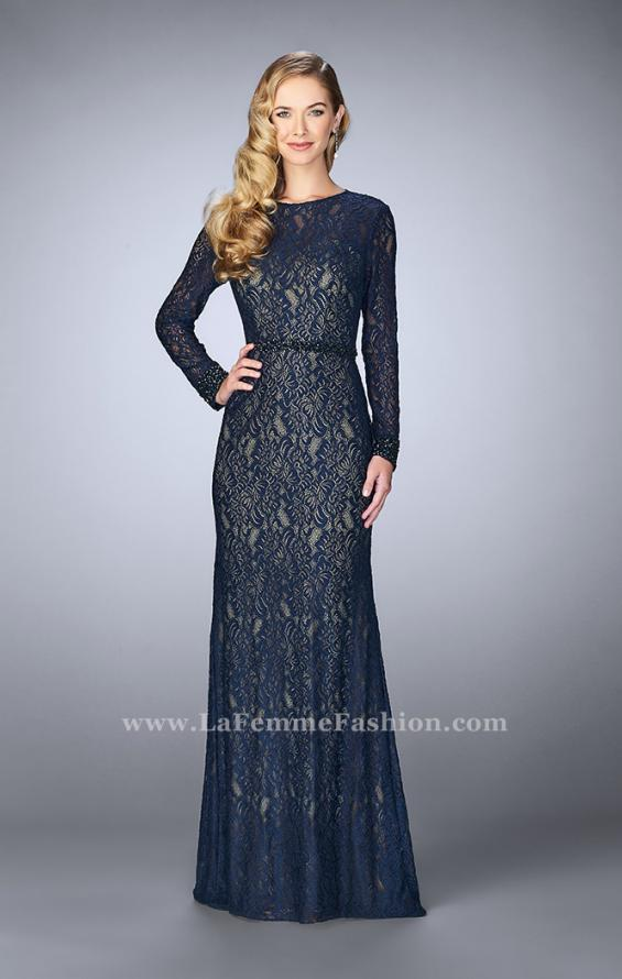 Picture of: Long Sleeve Lace Dress with Beaded Belt and Cuffs in Blue, Style: 23115, Detail Picture 1