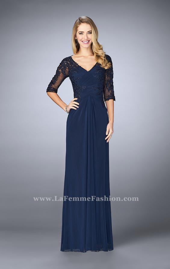 Picture of: 3/4 Sleeve Evening Dress with Lace Accents, Style: 23118, Main Picture