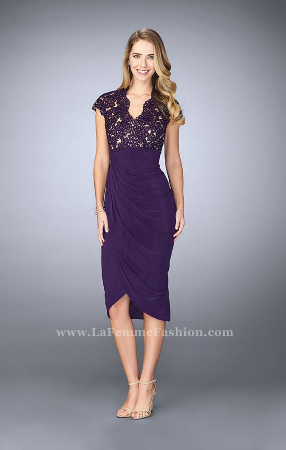 Picture of: Jersey Cocktail Dress with Tulip Hem and Beading in Purple, Style: 23124, Detail Picture 1