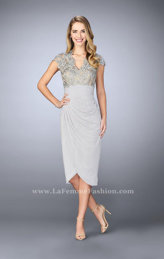 Picture of: Jersey Cocktail Dress with Tulip Hem and Beading in Silver, Style: 23124, Detail Picture 2