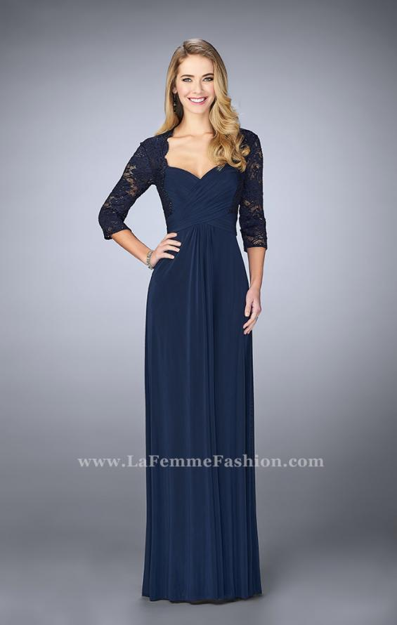 Picture of: Classic Jersey Evening Gown with 3/4 Sleeves in Blue, Style: 23139, Main Picture