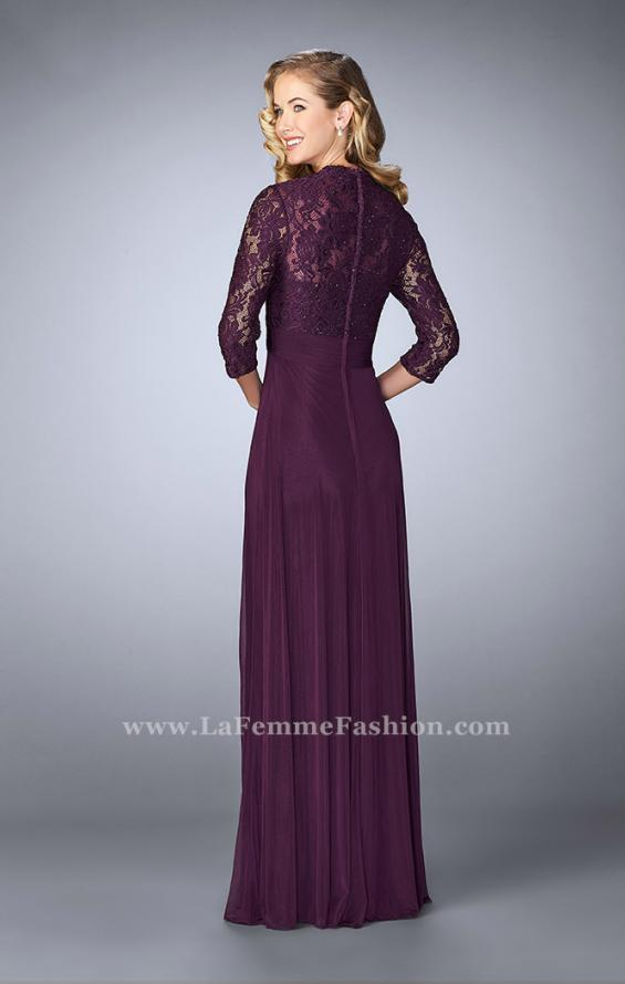 Picture of: Classic Jersey Evening Gown with 3/4 Sleeves in Purple, Style: 23139, Back Picture