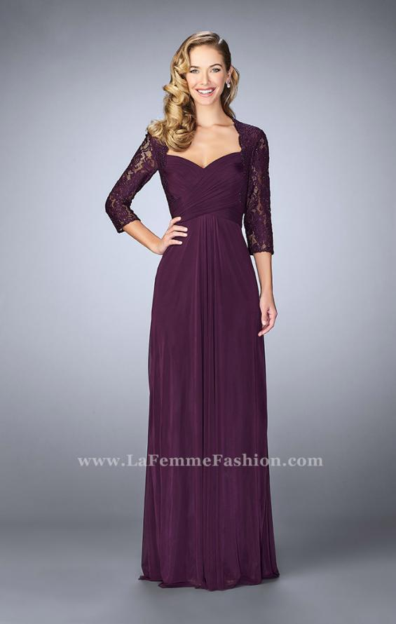 Picture of: Classic Jersey Evening Gown with 3/4 Sleeves in Purple, Style: 23139, Detail Picture 1