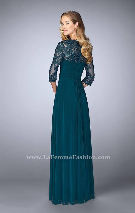 Picture of: Long Evening Gown with 3/4 Sleeves and Empire Waist, Style: 23141, Back Picture