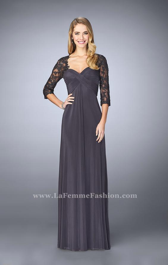 Picture of: Long Evening Gown with 3/4 Sleeves and Empire Waist, Style: 23141, Detail Picture 2
