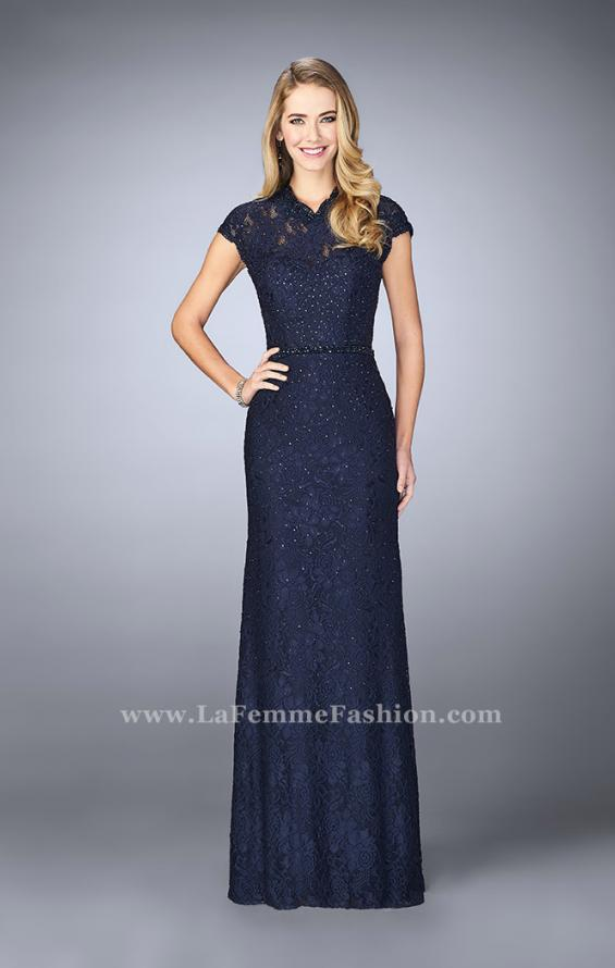 Picture of: Stretch Lace Gown with Sheer Lace Detailing in Blue, Style: 23148, Main Picture
